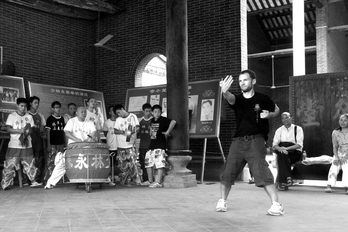 David performing the Bil Jee form in the ancestral hall of Chan Wah Shun's school in Shunde, China 2011.