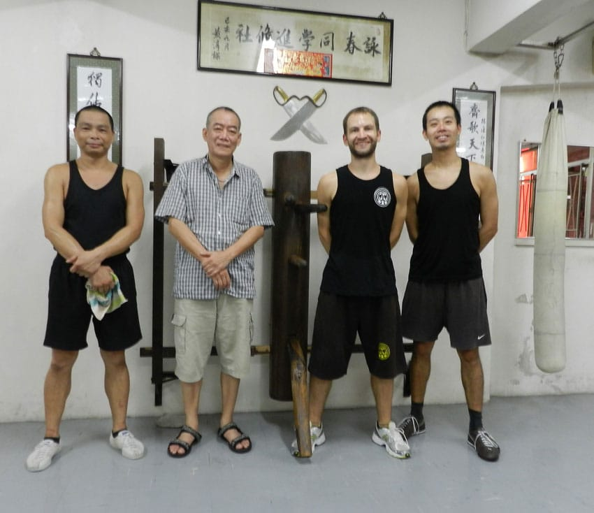 With Sifu Ng Chun Hong and his students, Kwan (to the left) and Alan (to the right)